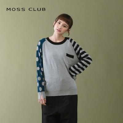 【MOSS CLUB】點點條紋長袖-針織上衣(二色)