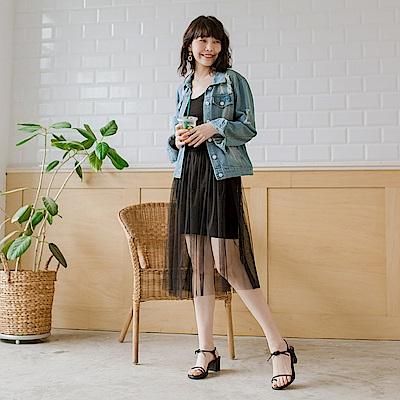 東京著衣 穿搭必備細肩帶連身紗裙-S.M.L(共二色)