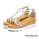 Tino Bellini晶鑽浪漫線條楔型涼鞋_白