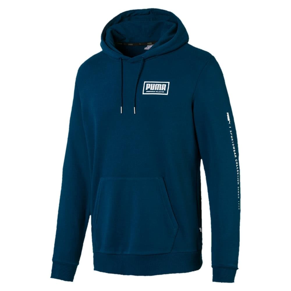 PUMA 基本系列Holiday 男長厚連帽T恤 藍綠色-58185138