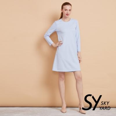 【SKY YARD 天空花園】立體拼接剪裁收腰洋裝-淺藍