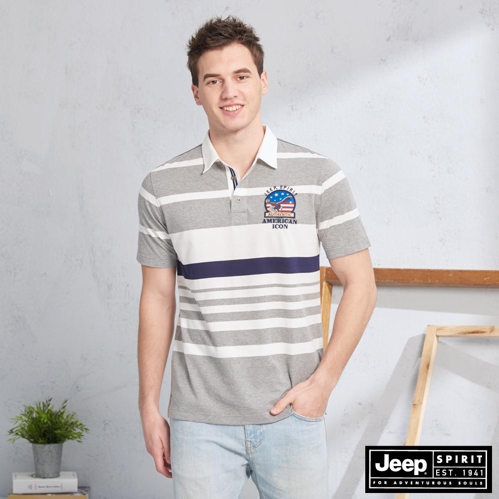 JEEP 撞色條紋拼接短袖POLO衫-灰色