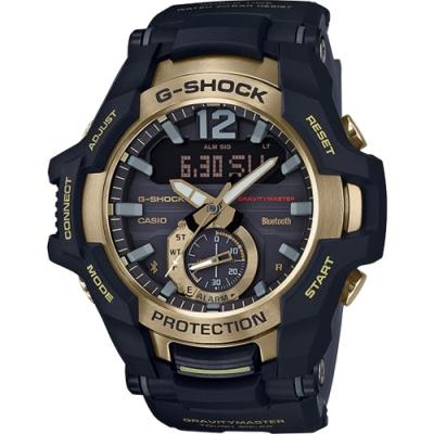 G-SHOCK 飛行員飛航專業太陽能雙顯錶-黑X金(GR-B100GB-1A)/40mm