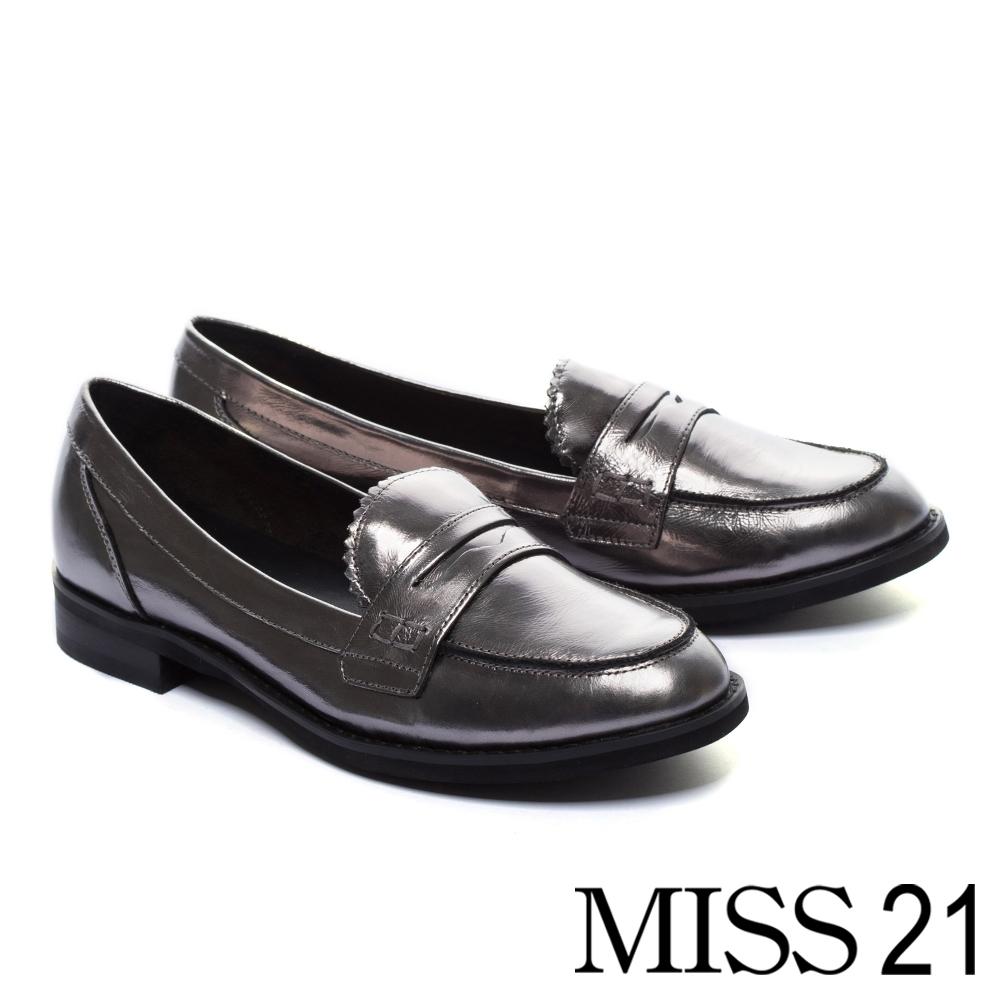 厚底鞋 MISS 21 經典復古學院風漆皮方頭樂福厚底鞋-銀灰