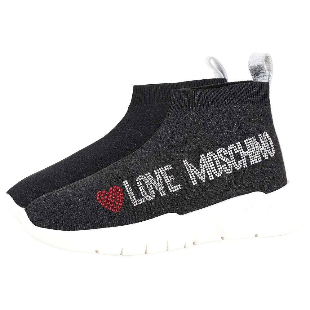 LOVE MOSCHINO 字母貼鑽彈性面料低筒襪套運動鞋(黑色)