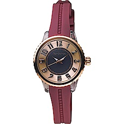Tendence 天勢 Liliput 立體時標小錶徑女錶-紅/28mm TY073003