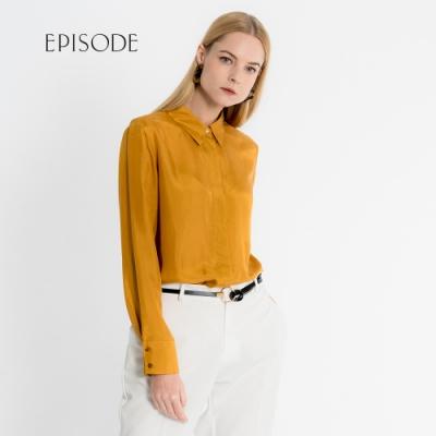 EPISODE - 簡約芥末黃絲質襯衫上衣