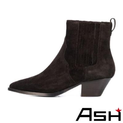ASH-FUTURE時尚簡約麂皮百搭中跟靴-棕