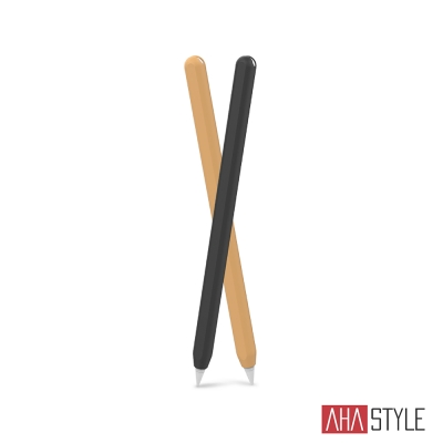 AHAStyle Apple Pencil 第二代專用 矽膠保護筆套 雙色2入 黑+橙