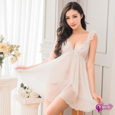 Sexy Cynthia 甜美純白柔透視紗二件式連身裙性感睡衣-白
