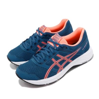 Asics 慢跑鞋 Gel Contend 5 D 寬楦 女鞋 藍 粉紅 基本款 運動鞋