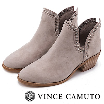 VINCE CAMUTO 側V絨面鉚釘粗跟短靴-絨米