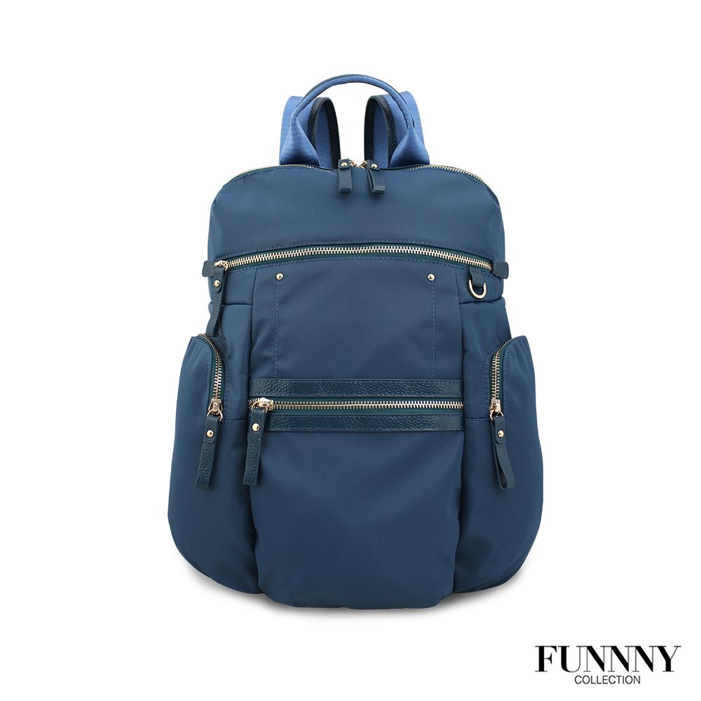 FUNNNY 日本同步 真皮x尼龍系列後背包 渡邊 佳子 藍