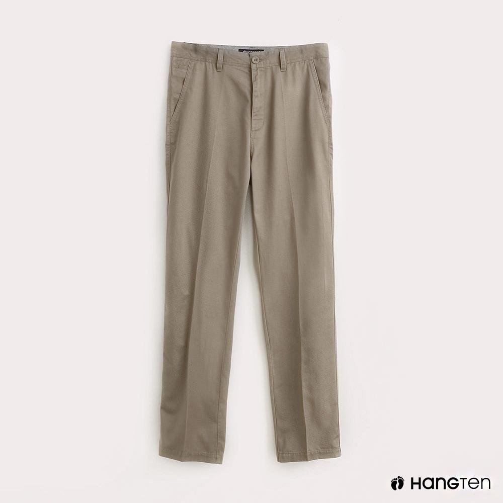 Hang Ten-男裝素面REGULAR FIT防皺工作長褲-卡其