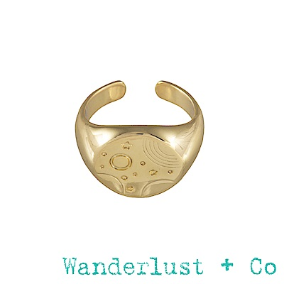 Wanderlust + Co星軌圖章戒指-金色