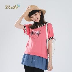 【Dailo】酷眼鏡貓咪假兩件短袖-針織衫(三色)