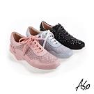 A.S.O時尚流行 活力雙核心拼接燙鑽休閒運動鞋-黑