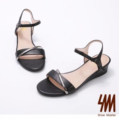 SM-真皮金屬交叉環飾條側勾式涼鞋