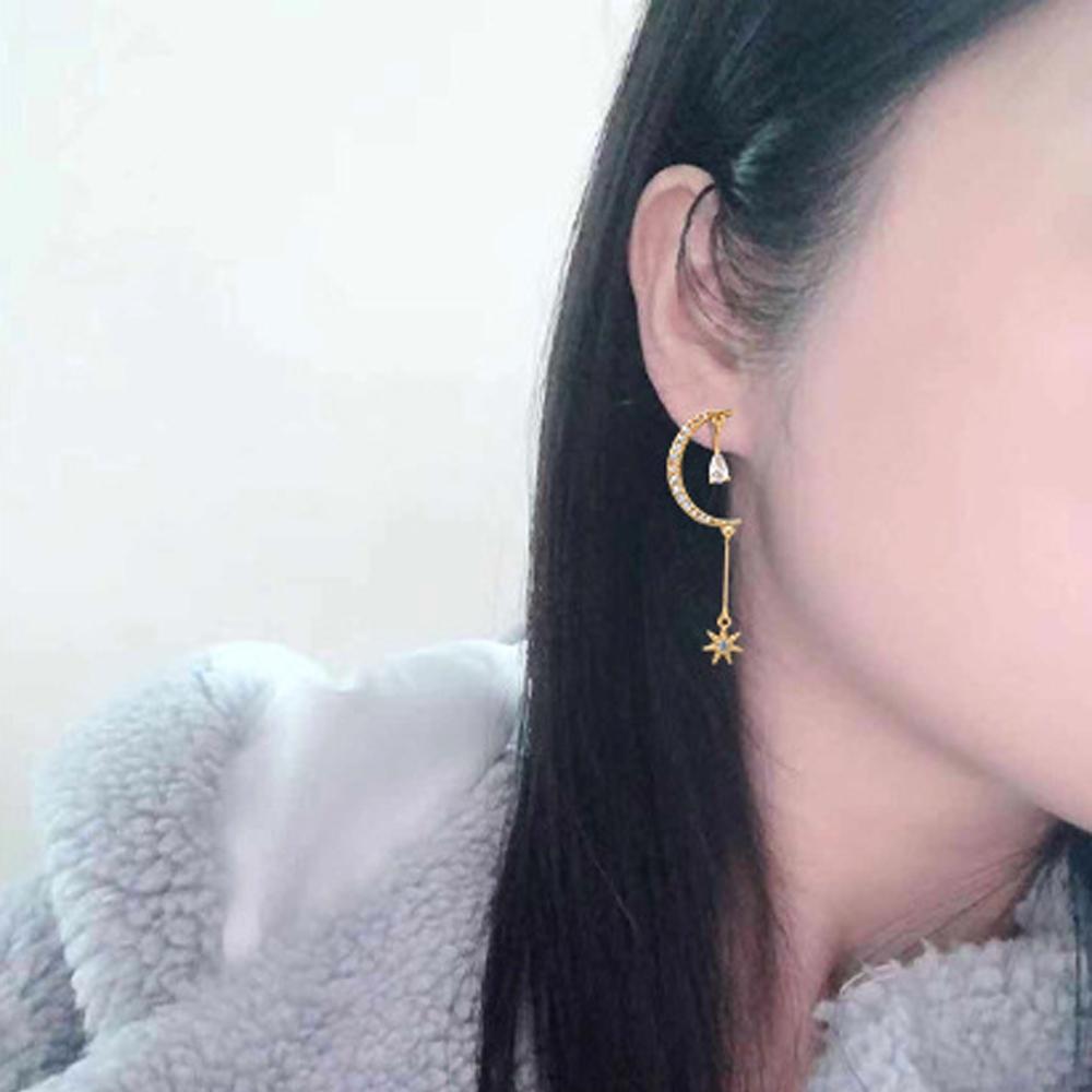 梨花HaNA 無耳洞/耳針款韓國夜幕月光吊綴星系耳環