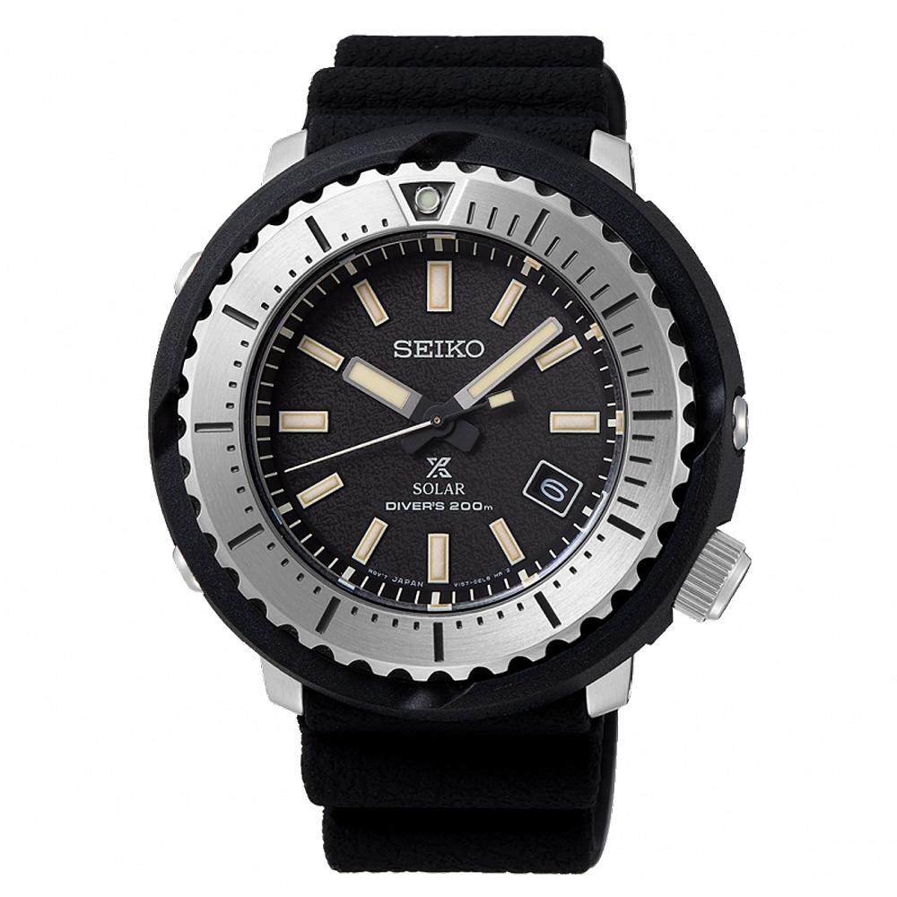 SEIKO 精工PROSPEX太陽能200米潛水手錶SNE541P1 -黑/46.7mm