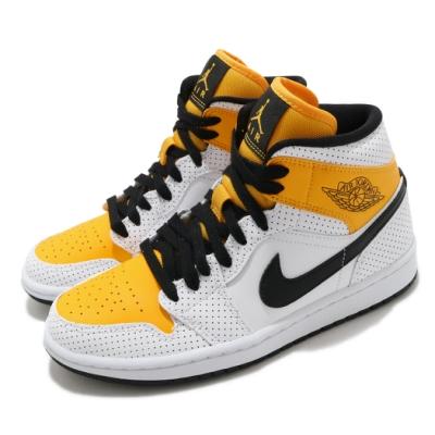 Nike 休閒鞋 W Air Jordan 1 Mid 女鞋 經典款 喬丹一代 皮革 簡約 穿搭 白 黃 BQ6472107