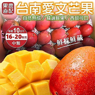 【天天果園】正宗台南愛文芒果中顆10斤(16-20入)