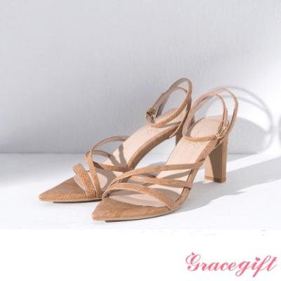 Grace gift X Ann-聯名繞踝尖頭高跟涼鞋 杏蛇紋