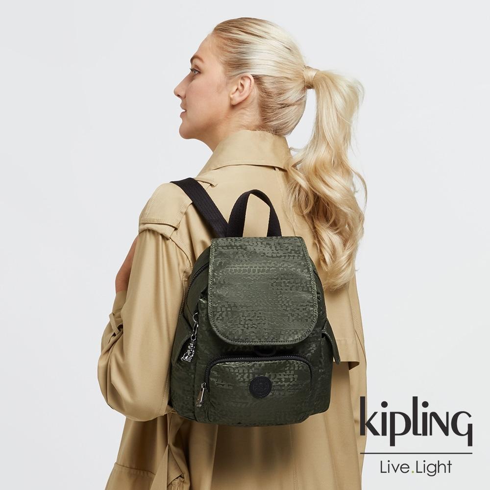 Kipling 深沉橄欖綠拉鍊掀蓋後背包-CITY PACK MINI