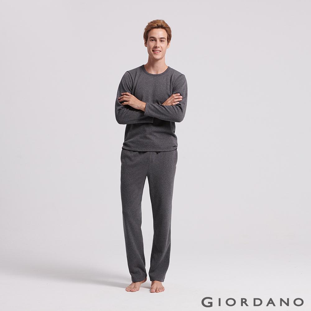 GIORDANO 男裝Homewear厚款內刷毛鬆緊素色居家褲-07 深花灰