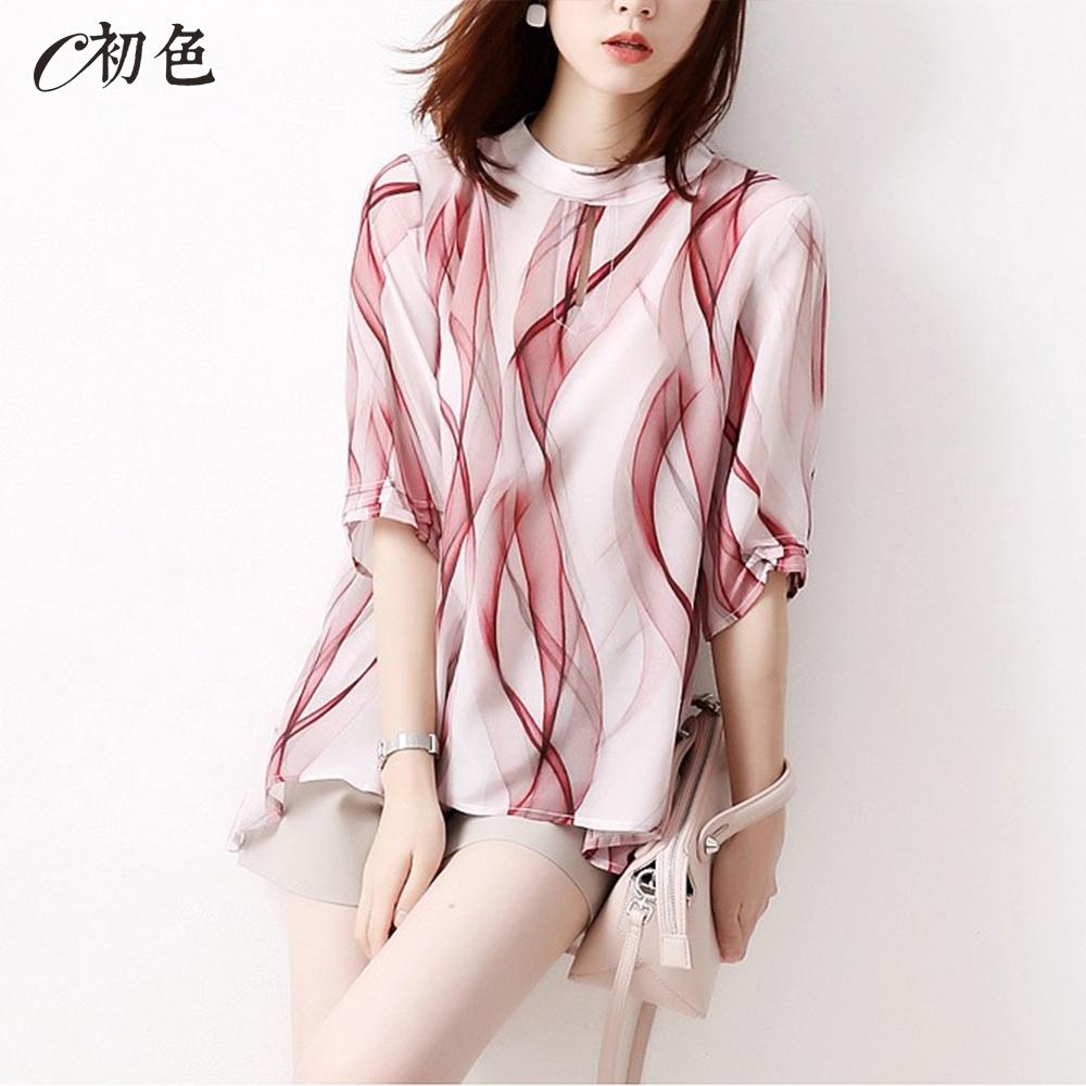 初色  造型印花雪紡衫-紅色-(M-2XL可選)