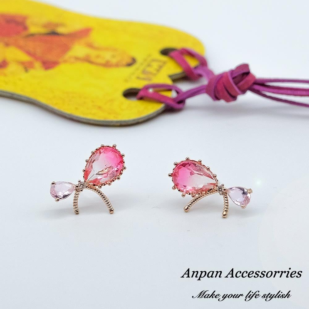 【全館五折】ANPAN愛扮925銀針韓東大門優雅超仙氣質蝴蝶結水晶耳環