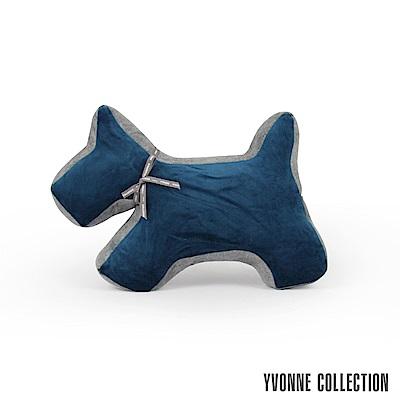 Yvonne Collection雙色拼接立體狗抱枕-藍暗灰