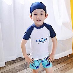 小衣衫童裝  男童清爽二件式短袖泳衣泳褲送泳帽1070604