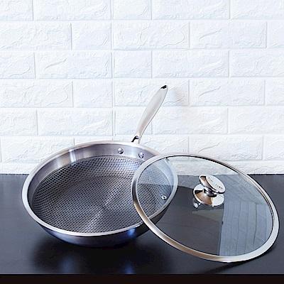 頂尖廚師 316不鏽鋼瓷晶耐磨蜂巢平底鍋32公分