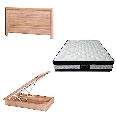 綠活居 羅多3.5尺單人床台三式組合(床頭片+後掀床底+正四線涼感獨立筒)五色可選