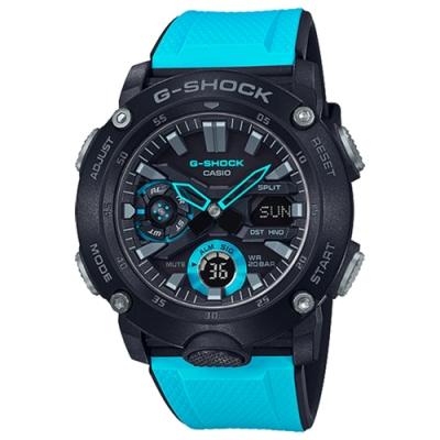 CASIO 卡西歐 G-SHOCK 碳纖維核心防護雙顯計時手錶 GA-2000-1A2