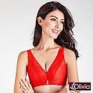 Olivia 無鋼圈3D立體深V綻放蕾絲內衣-紅色