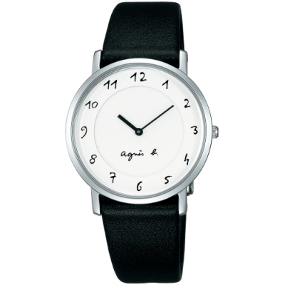 agnes b. 法式風情簡約薄型腕錶(BG4001P1)-白x黑/33mm