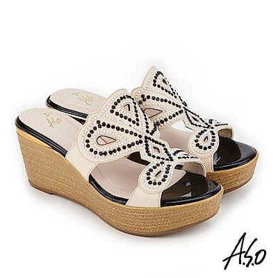 A.S.O 炫麗魅惑 黑鑽厚底奈米拖鞋 米色