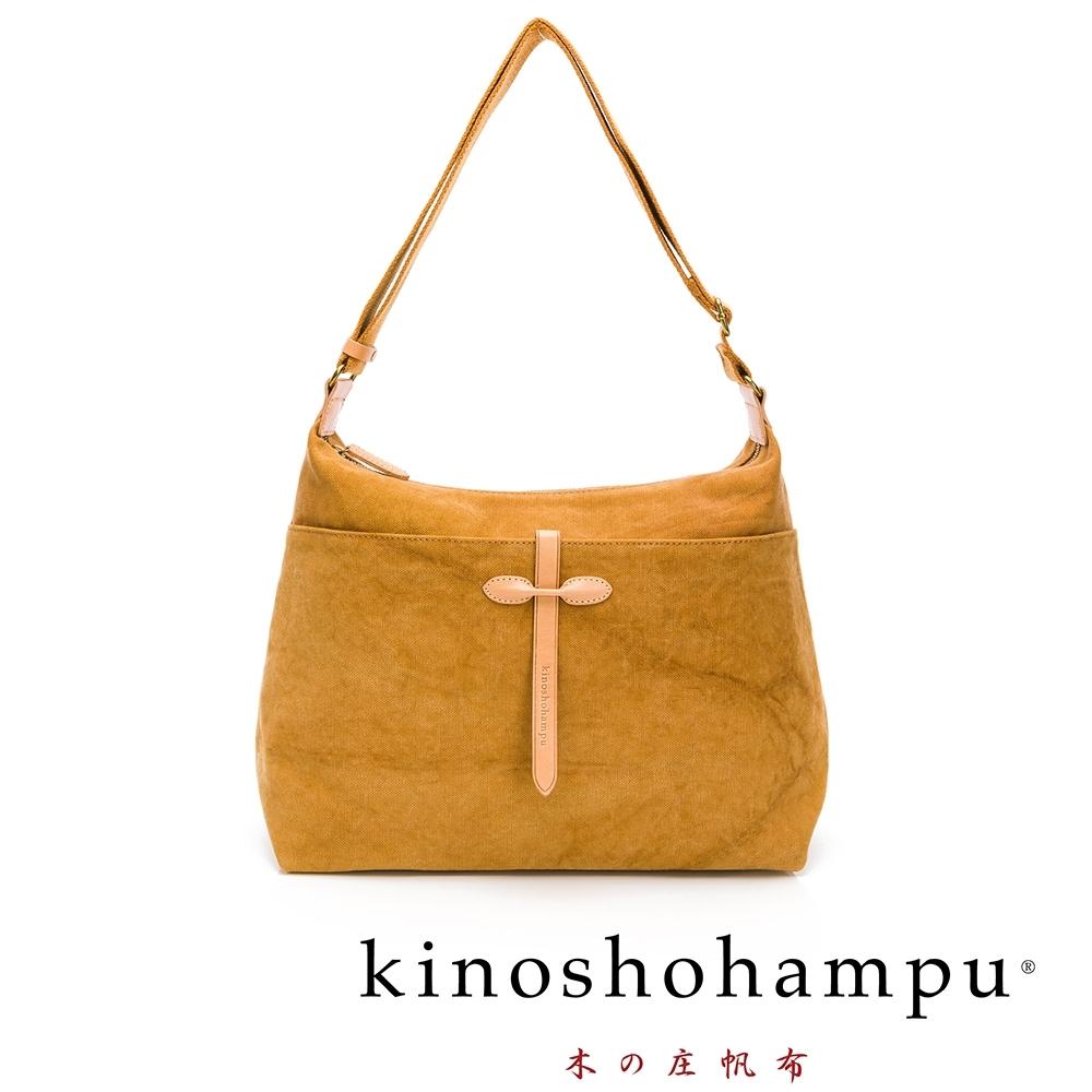 kinoshohampu Weekend水洗帆布皮飾斜背包 駝色