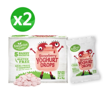 【紐西蘭 Kiwigarden】益菌優格豆 新鮮草莓 x兩盒組(兒童益生菌鈣餅乾)