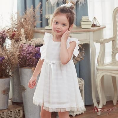 Annys安妮公主- 甜美質感壓紋蝴蝶結春夏款荷葉袖洋裝*8158白色
