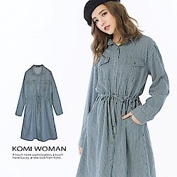 【KOMI】丹寧條紋襯衫領翻袖綁帶洋裝