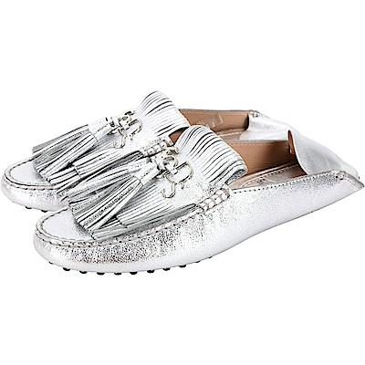 TOD'S Gommino 流蘇牛皮豆豆穆勒鞋(女款/銀色)