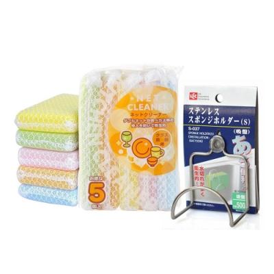 日本AISEN免洗劑5入網層海棉刷(5包裝)送吸盤架
