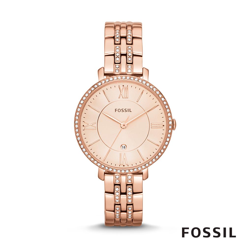 FOSSIL JACQUELINE 玫瑰金不鏽鋼女錶 36mm ES3546