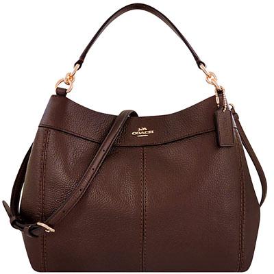 COACH 咖啡色光澤荔枝紋皮革斜背/肩背兩用包