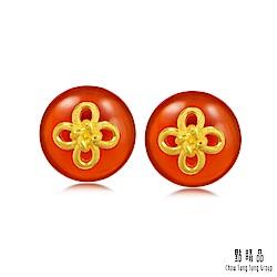 點睛品  吉祥黃金 如意結 紅瑪瑙黃金耳環