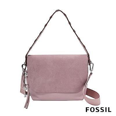 FOSSIL MAYA 柔軟真皮肩背/斜背兩用扁包-蘭花粉色