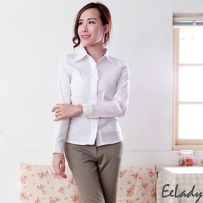 EELADY-荷葉邊直條紋長袖襯衫